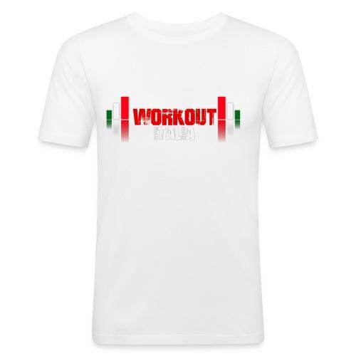 workout fondo scuro - Maglietta aderente da uomo