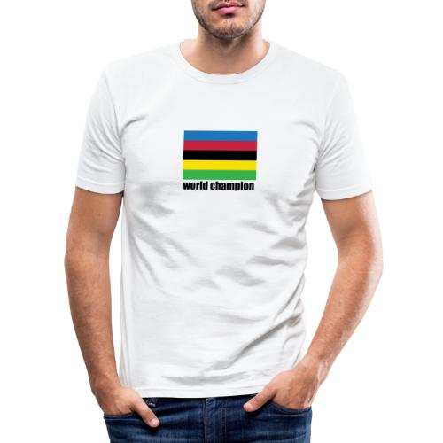world champion cycling stripes - Mannen slim fit T-shirt