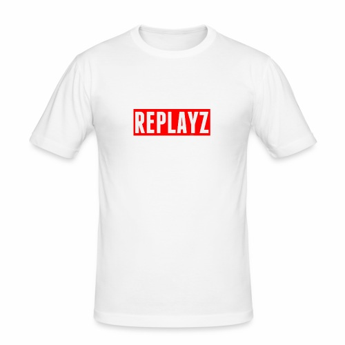 Replayz Red Box Logo - Men's Slim Fit T-Shirt