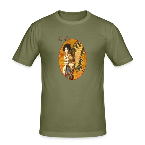 Vintage Japanese Geisha Oriental Design - Men's Slim Fit T-Shirt