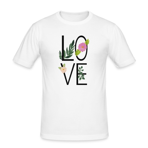 Love Sign with flowers - Men's Slim Fit T-Shirt