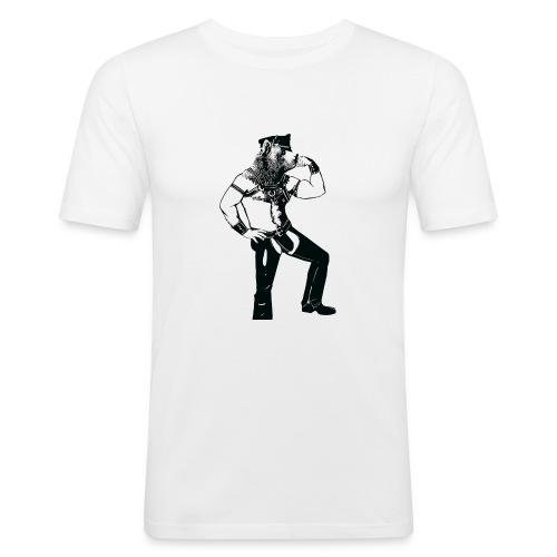 Grrr leather bear - T-shirt près du corps Homme