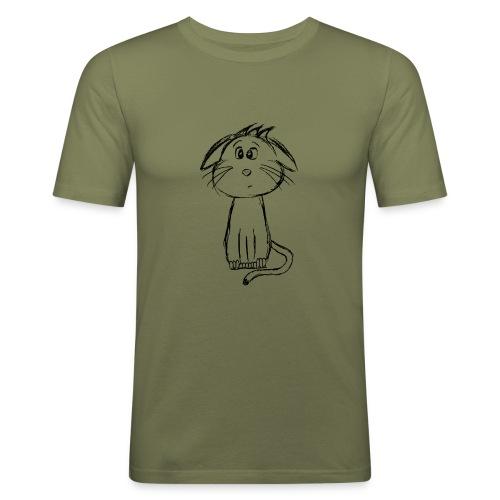 Kissa Kissanpentu musta scribblesirii - Miesten tyköistuva t-paita