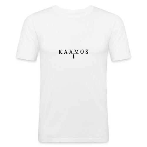 kaamos teksti png - Miesten tyköistuva t-paita