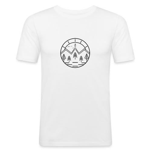 Lineart Schneeberg Fichtelgebirge Bäume Berge - Männer Slim Fit T-Shirt