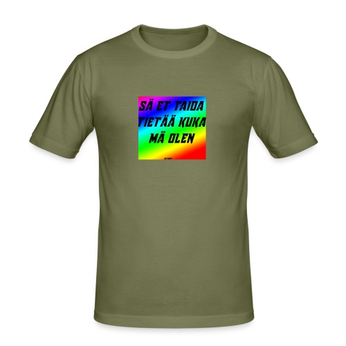 kuka olen - Miesten tyköistuva t-paita