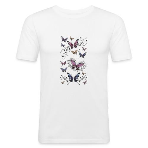Tattoo de mariposas lilas y rosas - Camiseta ajustada hombre
