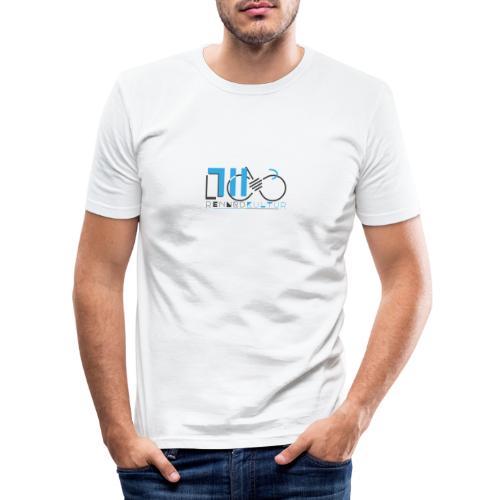 711.rennradkultur - classic Logo - grau/blau - Männer Slim Fit T-Shirt
