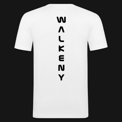 Walkeny Schriftzug vertikal in schwarz - Männer Slim Fit T-Shirt