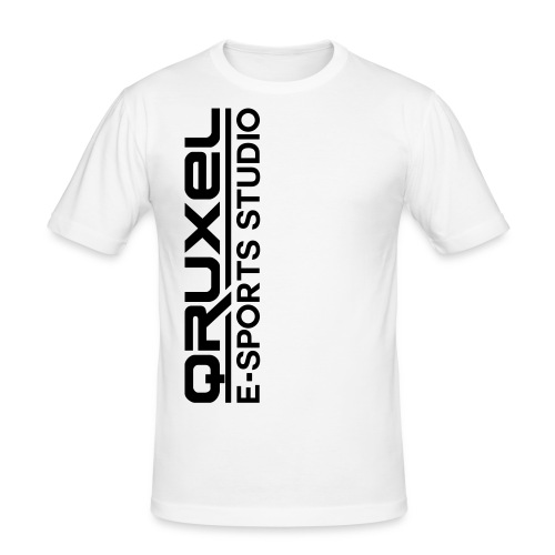qruxelesportslogo white - Men's Slim Fit T-Shirt