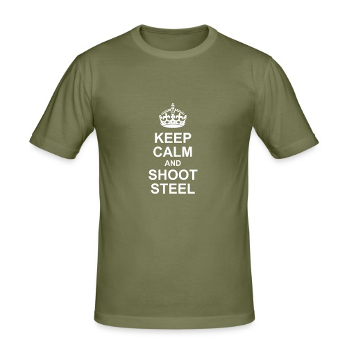 KEEP CALM and SHOOT STEEL - Männer Slim Fit T-Shirt