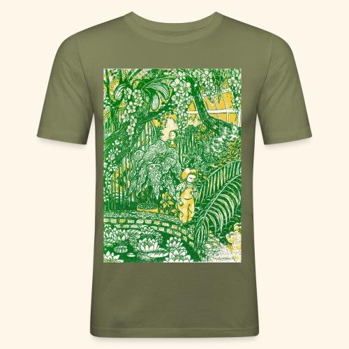 Children in a green garden - Miesten tyköistuva t-paita