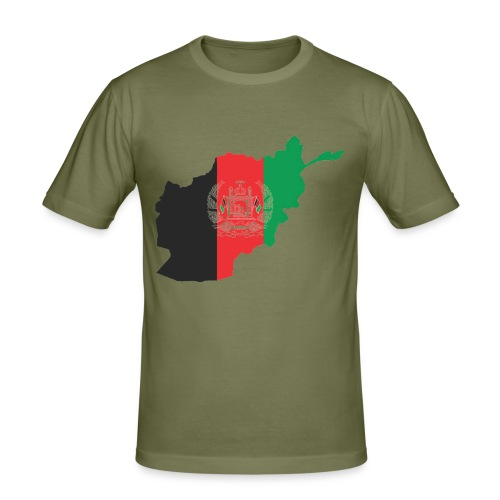 Afghanistan Flag in its Map Shape - Men's Slim Fit T-Shirt