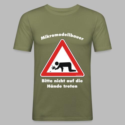 Mikromodell Warnschild Hände - weisse Schrift - Männer Slim Fit T-Shirt