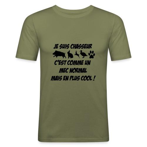 je suis chasseur... - T-shirt près du corps Homme