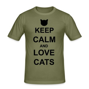 Keep Calm and Love Cats - Black - Men's Slim Fit T-Shirt