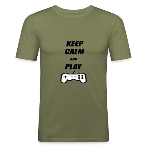 Maglietta Keep Calm And Play bianca. - Maglietta aderente da uomo