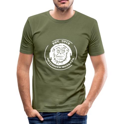 Caps Logo Opti Monki White Edition - Männer Slim Fit T-Shirt