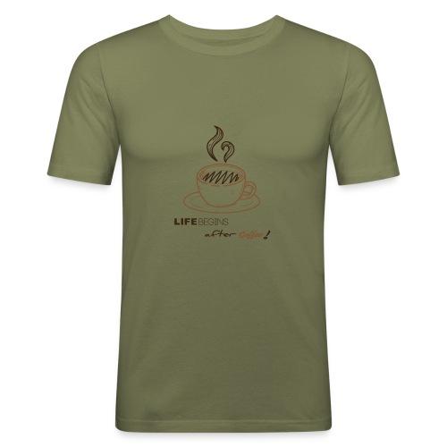 life begins after coffee - T-shirt près du corps Homme