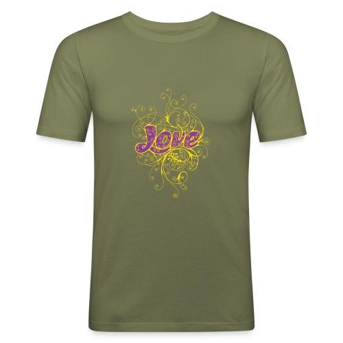 LOVE VIOLA CON DECORI - Maglietta aderente da uomo
