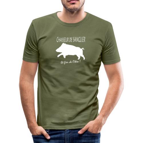 chasseur de sanglier et fier de l'être ! - T-shirt près du corps Homme