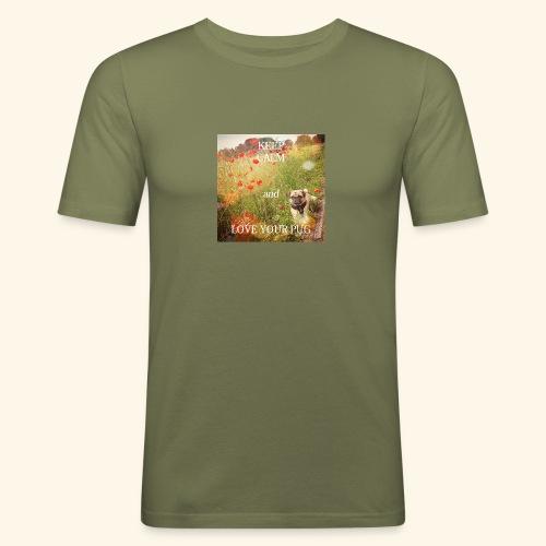 LOVE YOUR PUG - Männer Slim Fit T-Shirt