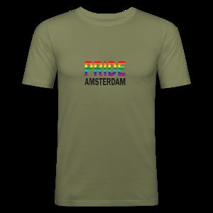 Pride Amsterdam in regenboog kleur en zwart - slim fit T-shirt
