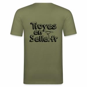 logo Troyes en Selle noir - Tee shirt près du corps Homme
