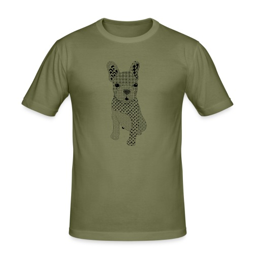 Bulldog puppy patroon - Mannen slim fit T-shirt