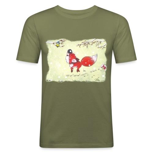 Hopsender Fuchs im Schnee - Männer Slim Fit T-Shirt
