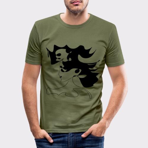 LINEART ALLES WIRD GUT FRAU ILLUSTRATION Line Art - Männer Slim Fit T-Shirt