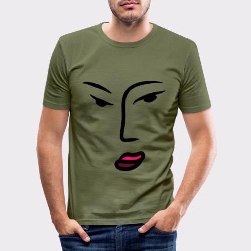 Frau Line Art Abstrakte Kunst - Männer Slim Fit T-Shirt