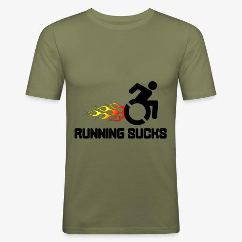 Rolstoel gebruikers vinden rennen niet leuk - Mannen slim fit T-shirt