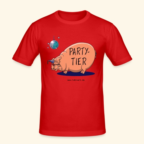 Partytier Schwein Fete Feier Party Sau - Männer Slim Fit T-Shirt