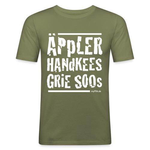 ÄpplerHandkeesGrieSoos_v - Männer Slim Fit T-Shirt