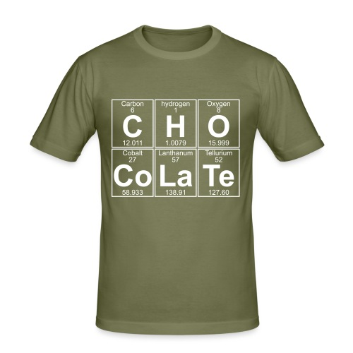 C-H-O-Co-La-Te (chocolate) - Full - Men's Slim Fit T-Shirt