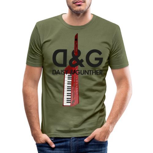Met keytar-logo - Mannen slim fit T-shirt
