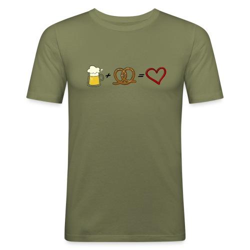 pretzel + beer = love - Men's Slim Fit T-Shirt
