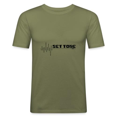 logo zwart set tone 300dpi - Mannen slim fit T-shirt