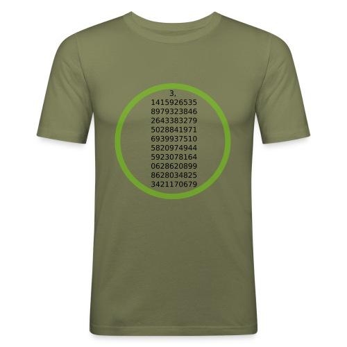 Number Pi Green Circle - Miesten tyköistuva t-paita