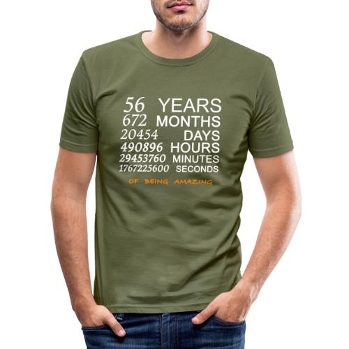 Anniversaire 56 years 672 months of being amazing - T-shirt près du corps Homme