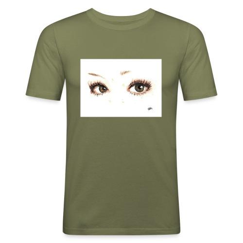 occhi di gatto - Maglietta aderente da uomo
