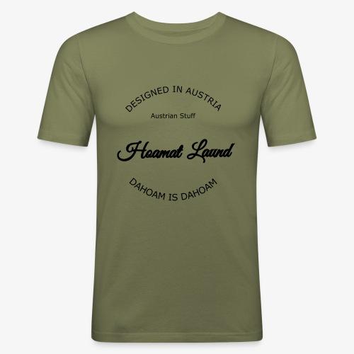hoamatlaund mit bissl an text - Männer Slim Fit T-Shirt