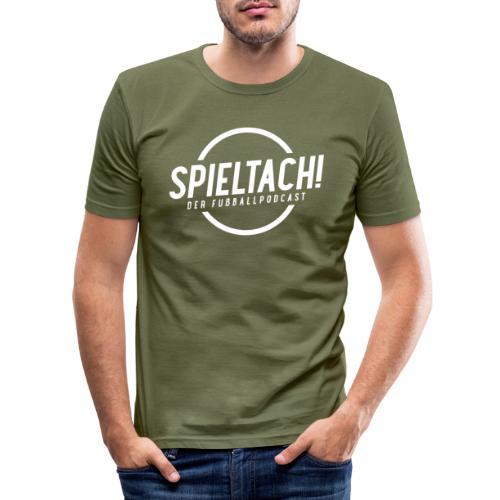 Logo Spieltach - Weiß - Männer Slim Fit T-Shirt