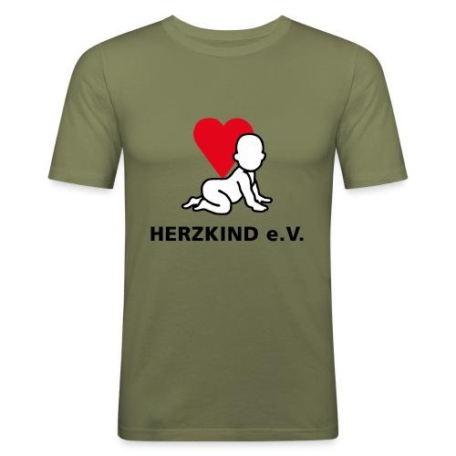 Herzkind Logo Wort Bildmarke ohne Unterzeile PFADE - Männer Slim Fit T-Shirt
