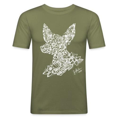 Mandalakoira Tiny White - Miesten tyköistuva t-paita