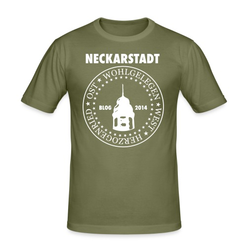 Neckarstadt – Blog seit 2014 (Logo hell) - Männer Slim Fit T-Shirt