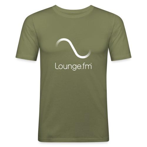 loungefm logo weiss - Männer Slim Fit T-Shirt