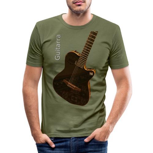 Guitarra inclinada - Camiseta ajustada hombre