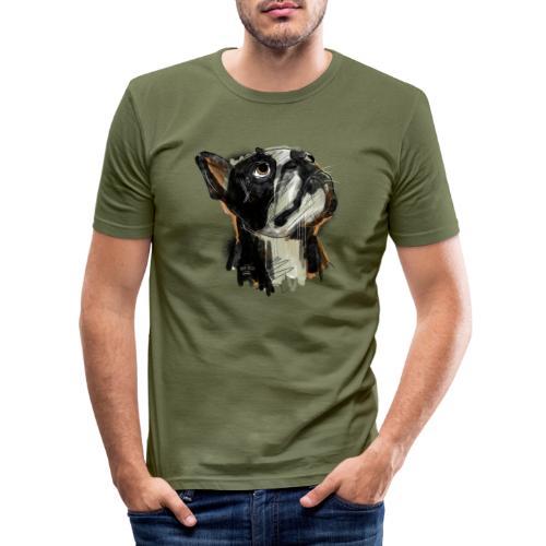 Französische Bulldogge Zeichnung - Männer Slim Fit T-Shirt